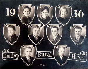 Lester and high school classmates. Alice is in the upper right hand corner.