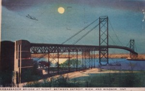Ambassador Bridge at Night between Detroit, Mich. and Windsor, Ont. Photo from postal card, 1942
