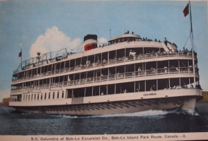 The Postal card Lester sent;  SS Columbia of the Bob-Lo Excursion Co.