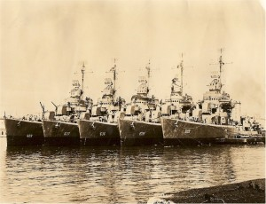 The Gherardi, second from left, waits in harbor with other ships in its class. 1942