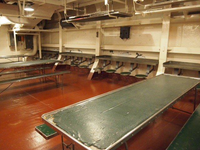 Dining area on the USS North Carolina
