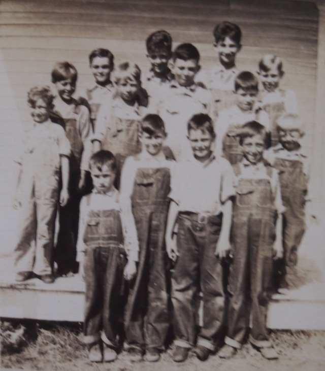 The boys at school. Lester is on the left in the back row.