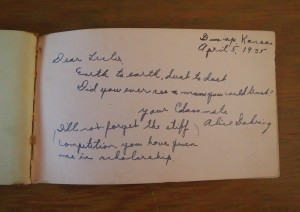 Note from Alice in Lester's autograph book