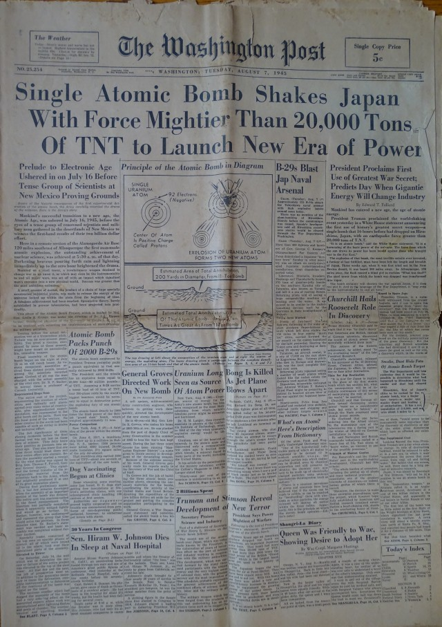 Washington Post edition with news of the bomb