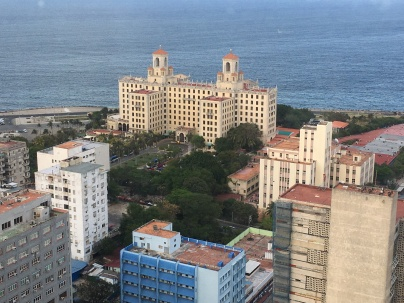 A view of Hotel Nacional from the 25th floor of another hotel's dining room.