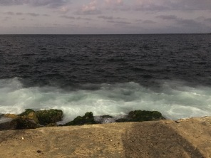 The closest I got to ocean spray. Waves crashed on the rocks below the walkway.